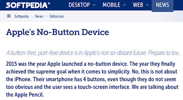 Softpedia - Apple's No button Device