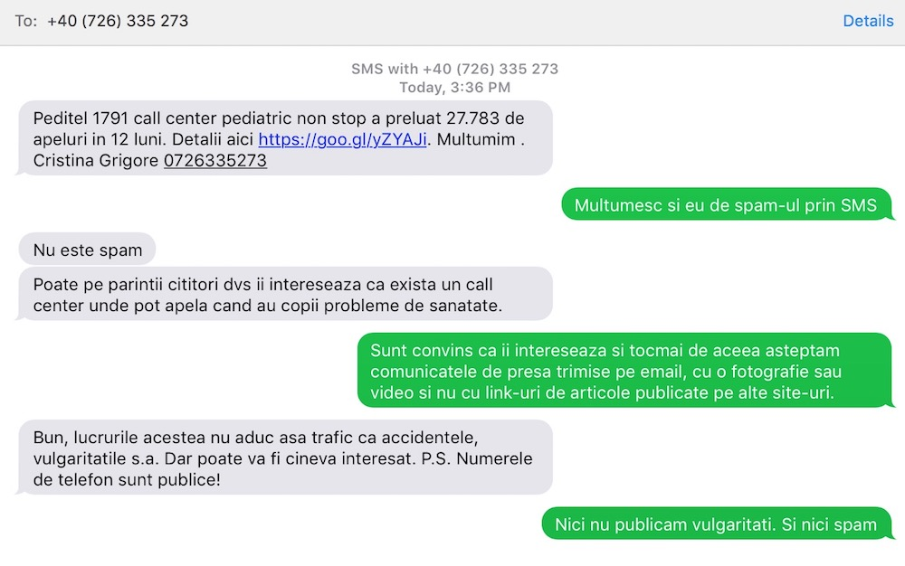 Schimb de SMS-uri cu Peditel