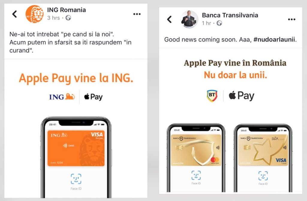 Apple Pay la Banca Transilvania și ING Romania
