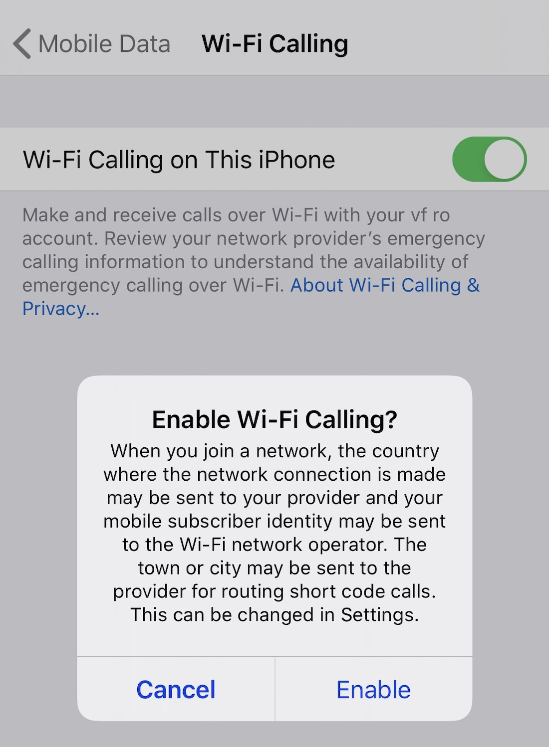 WiFi Calling pe iPhone